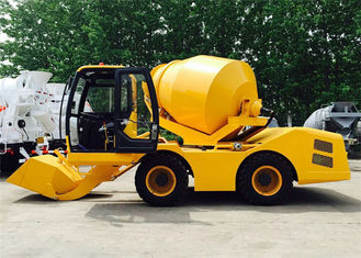 China 3CBM 4WD Mini Mobile Concrete Pan Mixer , 3000L Self Loading Construction Mixer Machine supplier