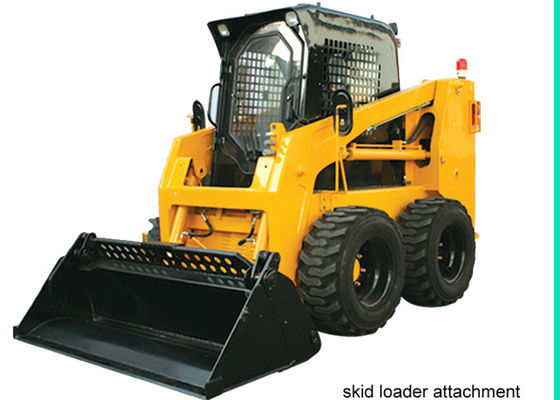 China Enclosed Operator Cab Skid Steer for Rent , 4 in 1 bucket Skid Steer Track Loaders supplier