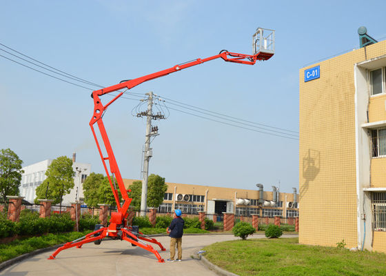 China 10m Max Platform Height Towable Boom Lift with Hydraulic Outriggers and Outrigger Interlocks supplier