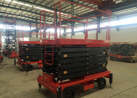 China SJY0.3-16 300KG Four wheel Traction Hydraulic Mobile Scissor Lift 16M Max Lifting Height supplier