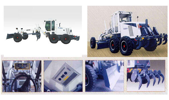 Electrically Controlled Motor Grader Machine , 15.4Tons Operating Weight Land Leveling Machine