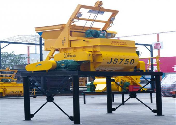 750L Electric Twin Horizontal Shafts Concrete Mixer Machine 0.75 m3 Discharge Capacity