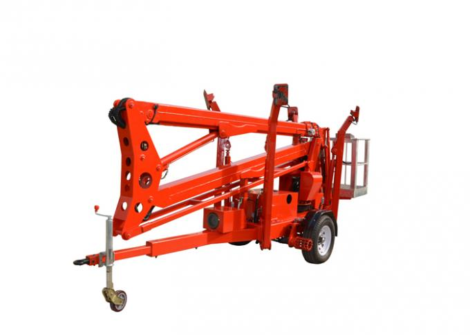 10m Max Platform Height Towable Boom Lift with Hydraulic Outriggers and Outrigger Interlocks